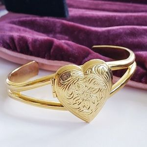 Vintage gold LOCKET bracelet open bangle